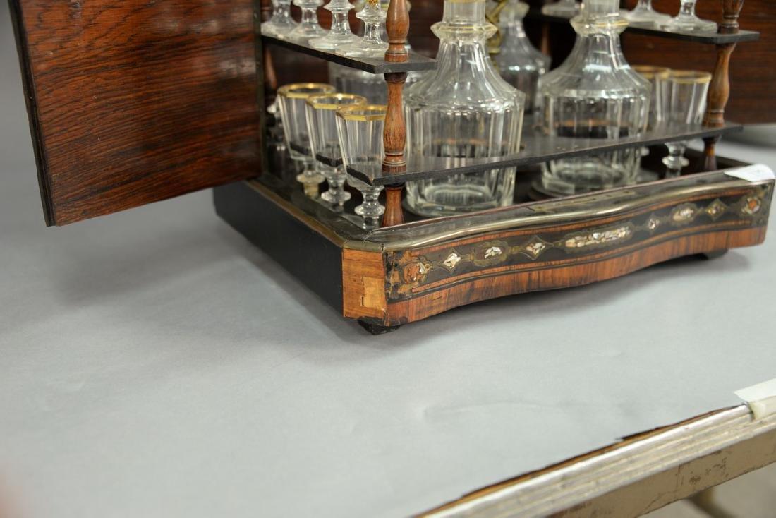 French inlaid tantalus, inlaid mahogany, ebonized wood, - 3