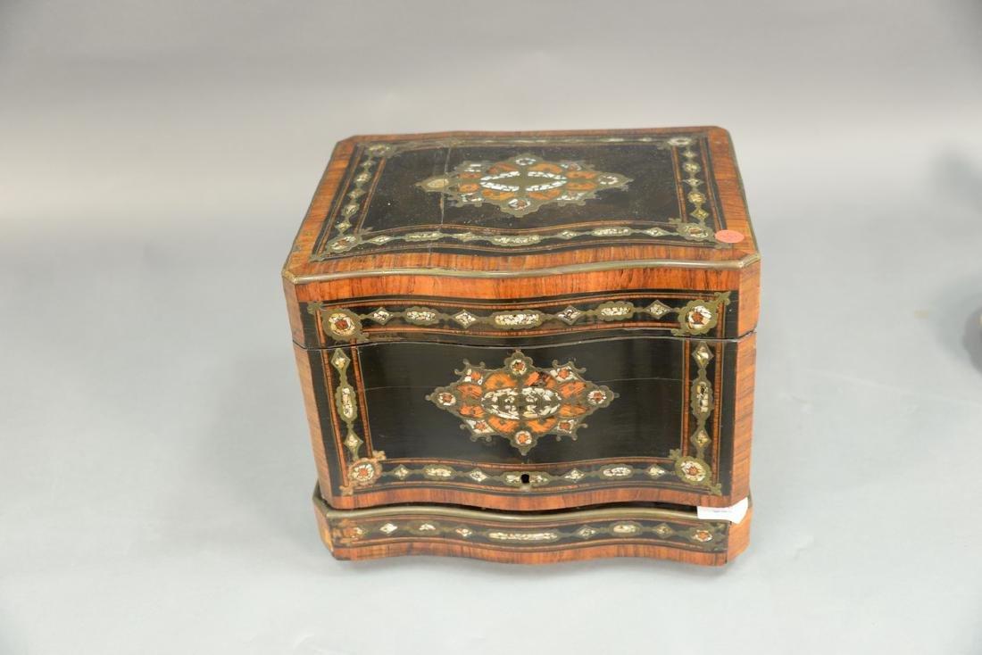 French inlaid tantalus, inlaid mahogany, ebonized wood, - 4