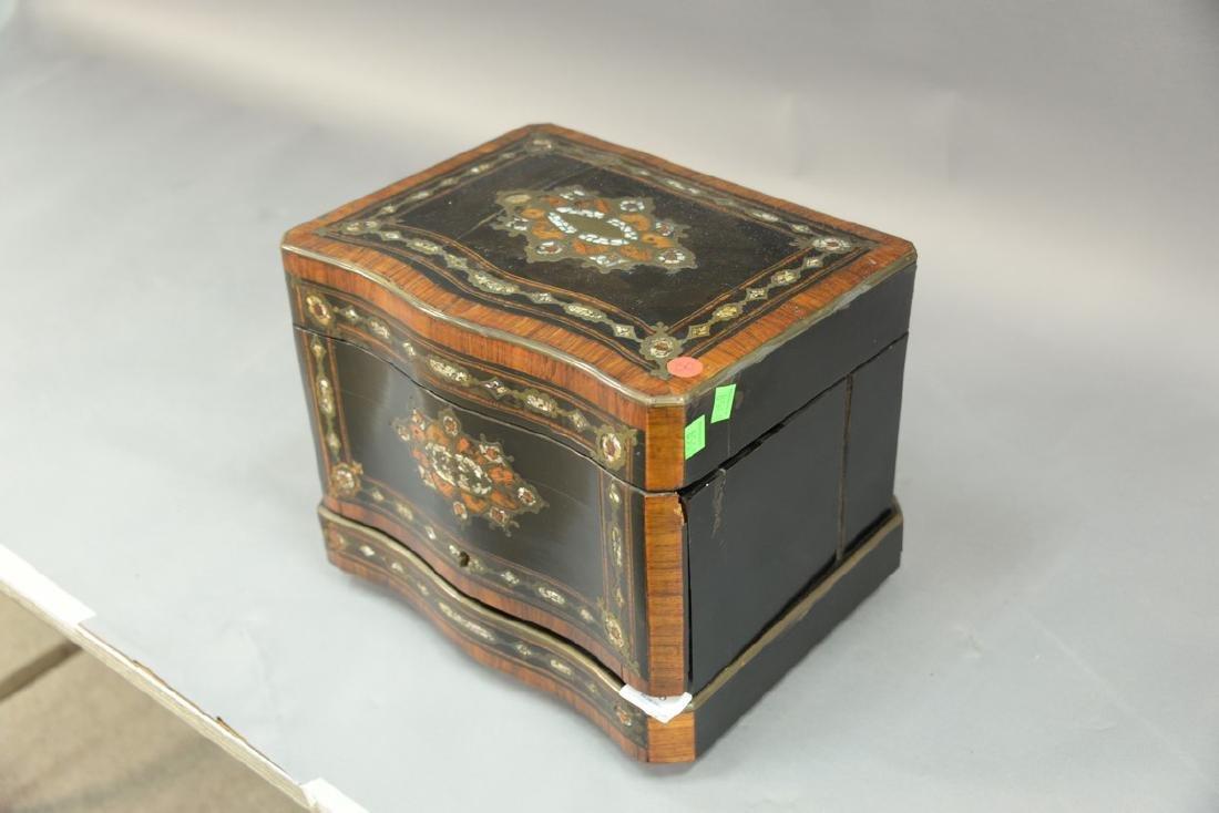 French inlaid tantalus, inlaid mahogany, ebonized wood, - 5