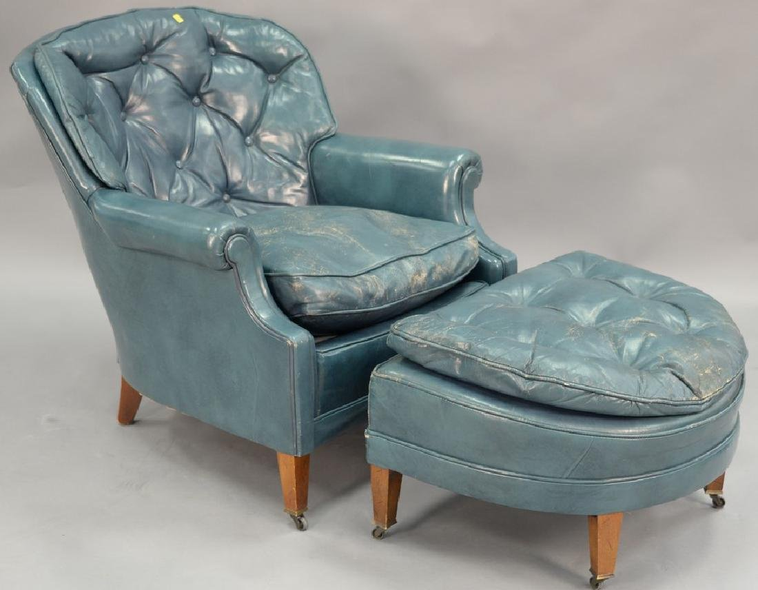 Leather blue easy chair and ottoman (some wear).