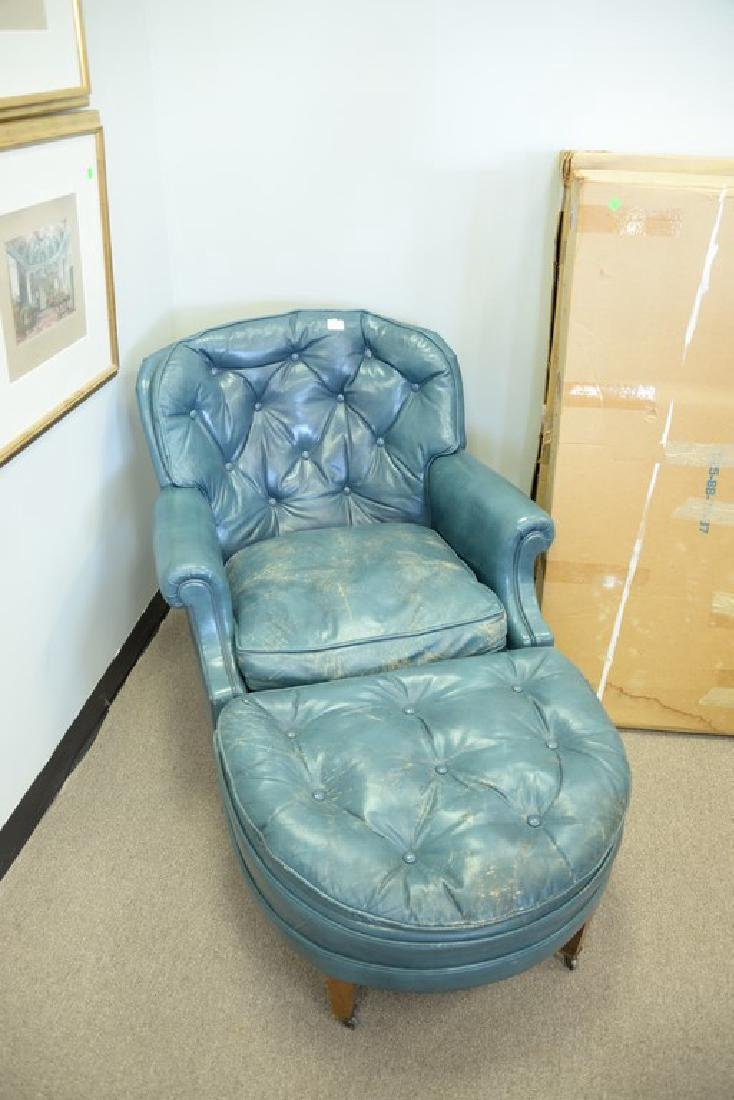 Leather blue easy chair and ottoman (some wear). - 2
