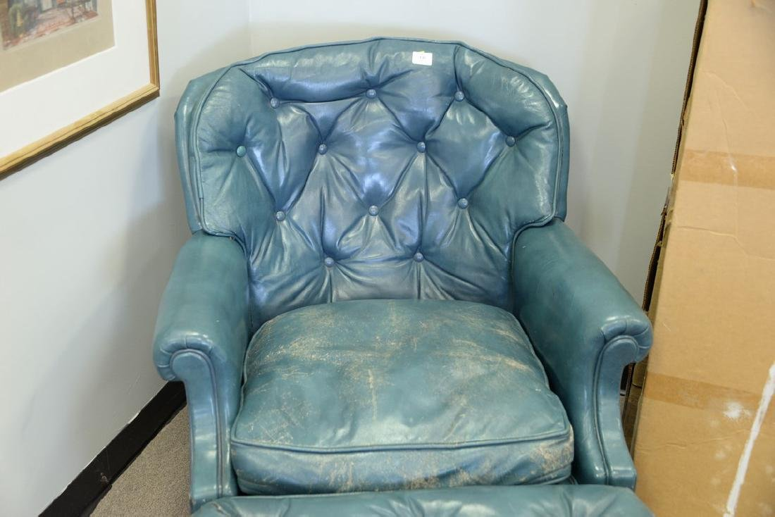 Leather blue easy chair and ottoman (some wear). - 3