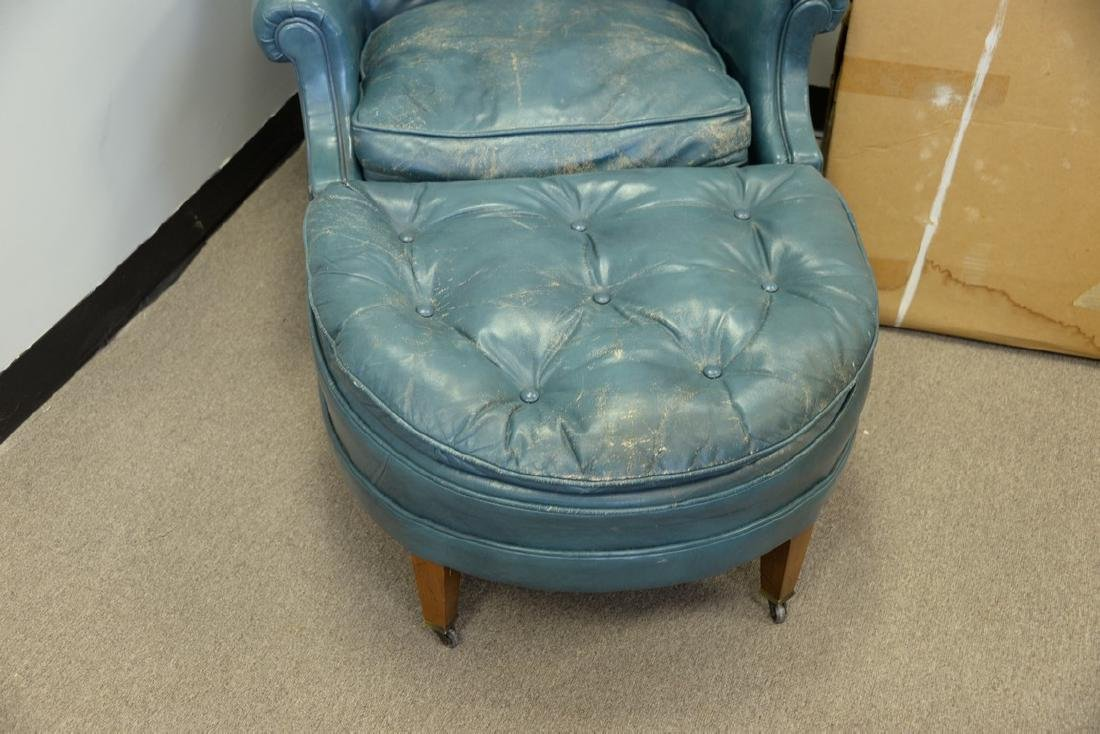 Leather blue easy chair and ottoman (some wear). - 4