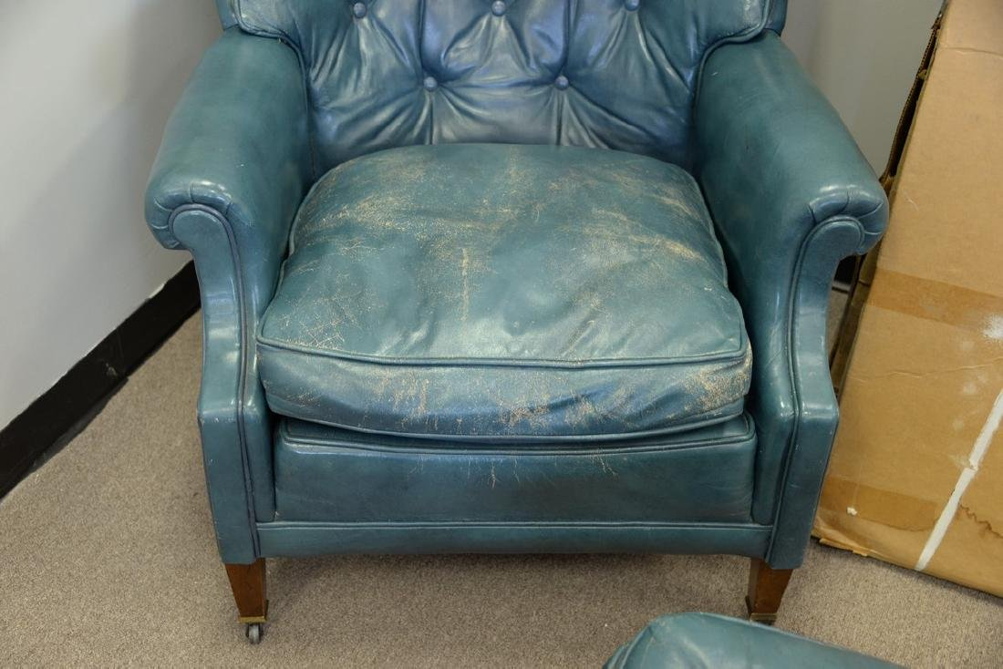 Leather blue easy chair and ottoman (some wear). - 5