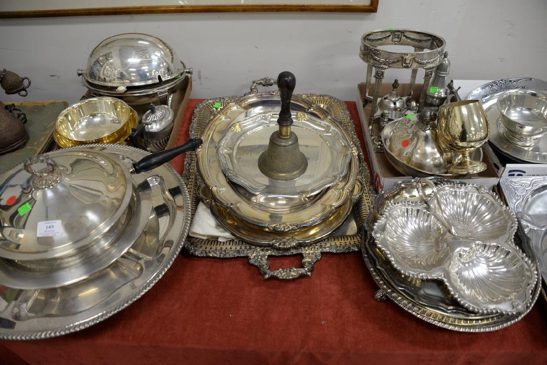 Large group of silverplate including flatware set,