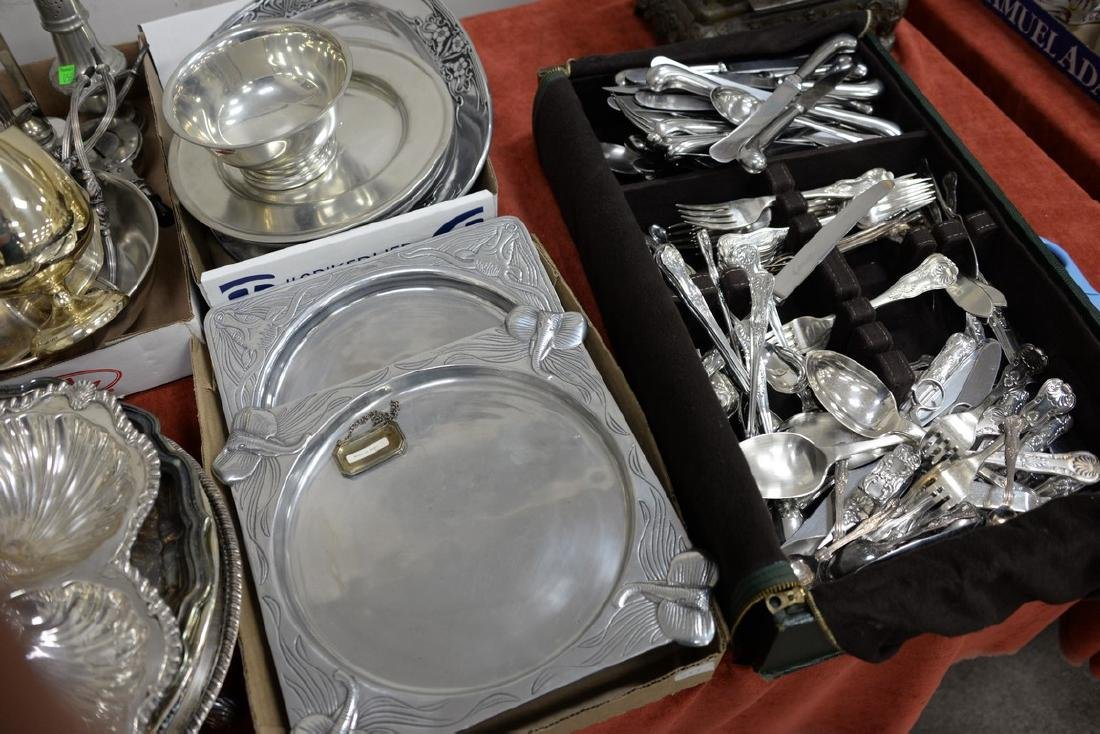 Large group of silverplate including flatware set, - 2
