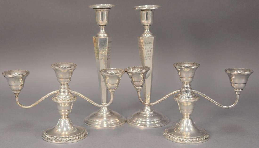 Pair of sterling silver candelabra and candlesticks