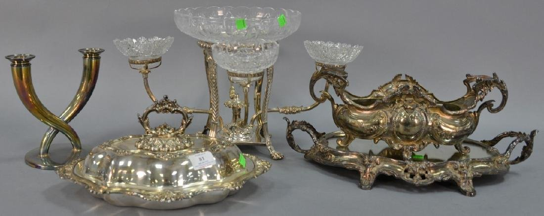 Five silverplated items to include covered tureen (ht.