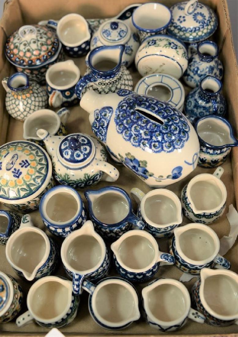 Tray lot of miniature handmade Polish pottery pieces