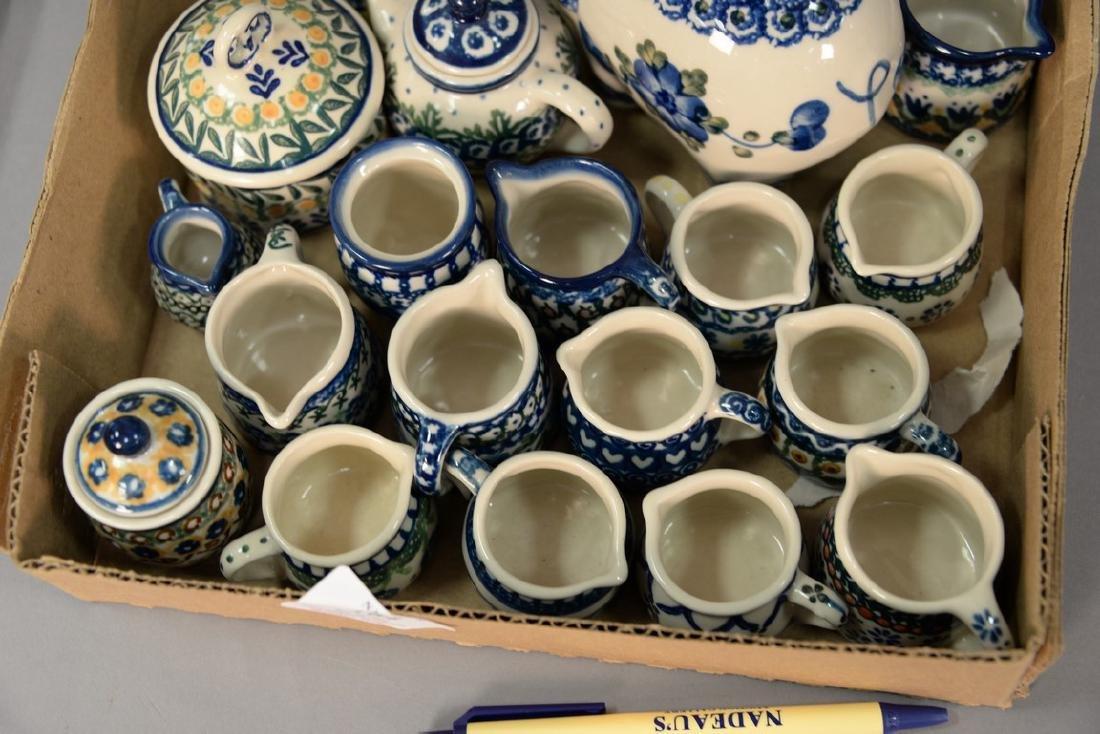 Tray lot of miniature handmade Polish pottery pieces - 3