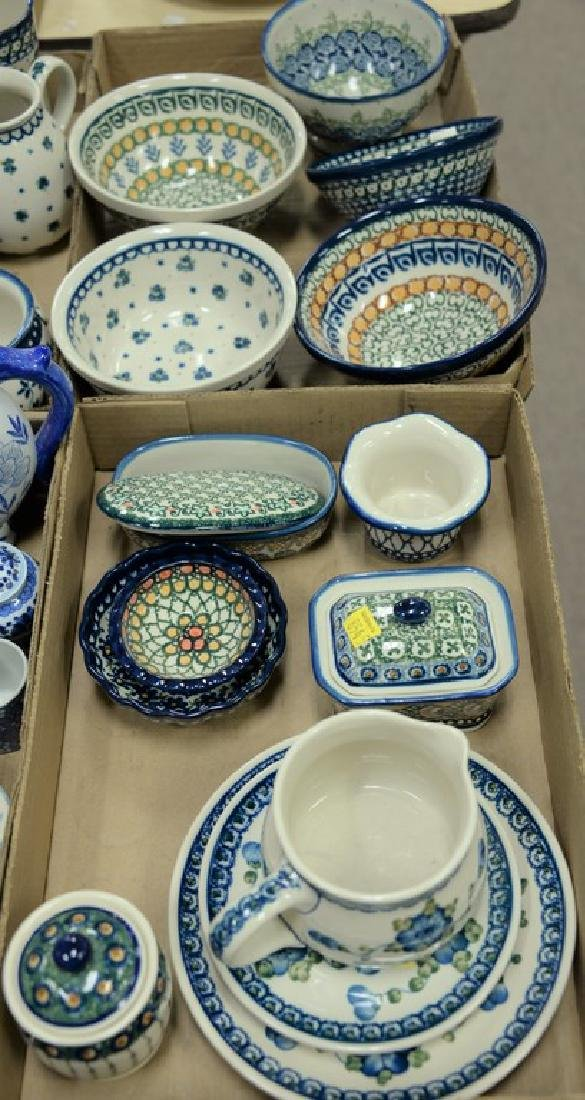 Three tray lots of handmade Polish pottery, twenty-two