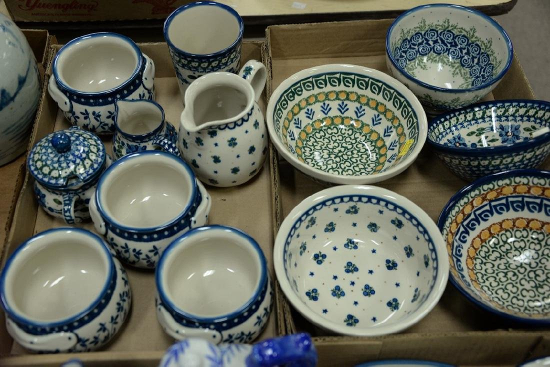 Three tray lots of handmade Polish pottery, twenty-two - 2