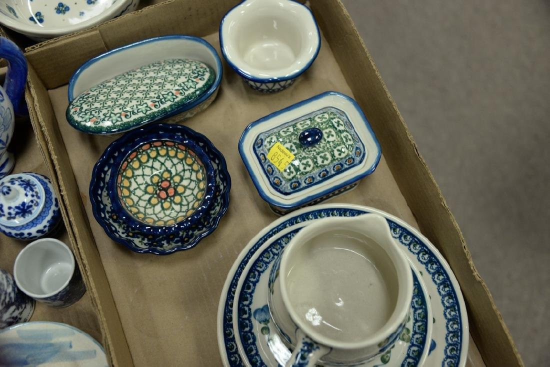 Three tray lots of handmade Polish pottery, twenty-two - 3