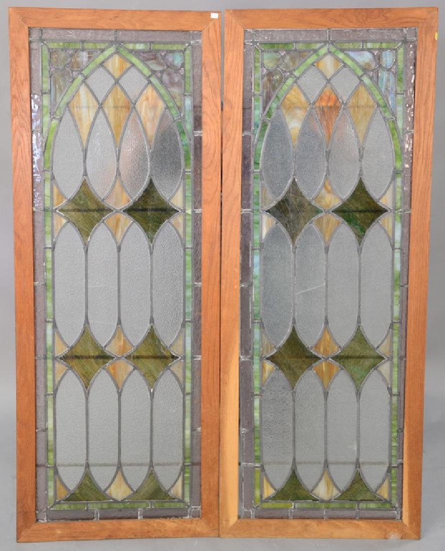 """Pair of rectangle stained leaded glass windows. 57"""" x"""
