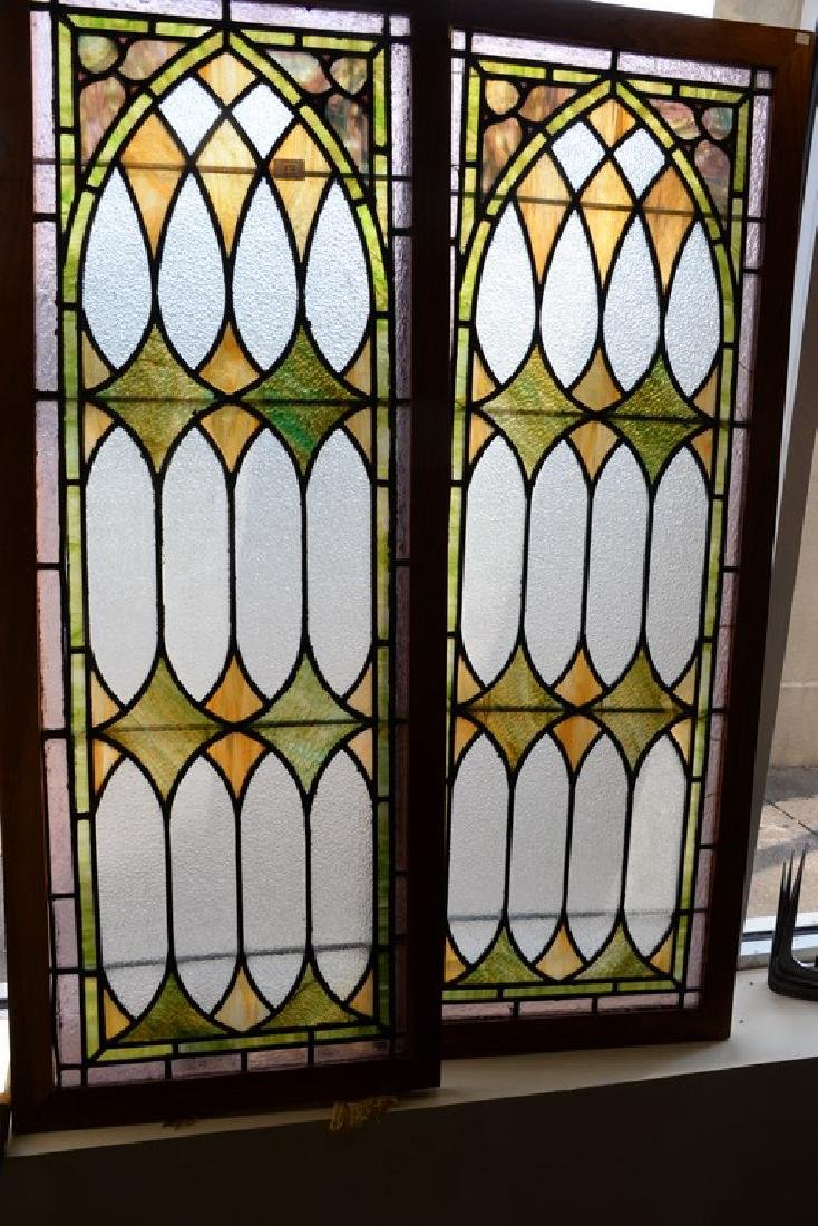 "Pair of rectangle stained leaded glass windows. 57"" x - 3"