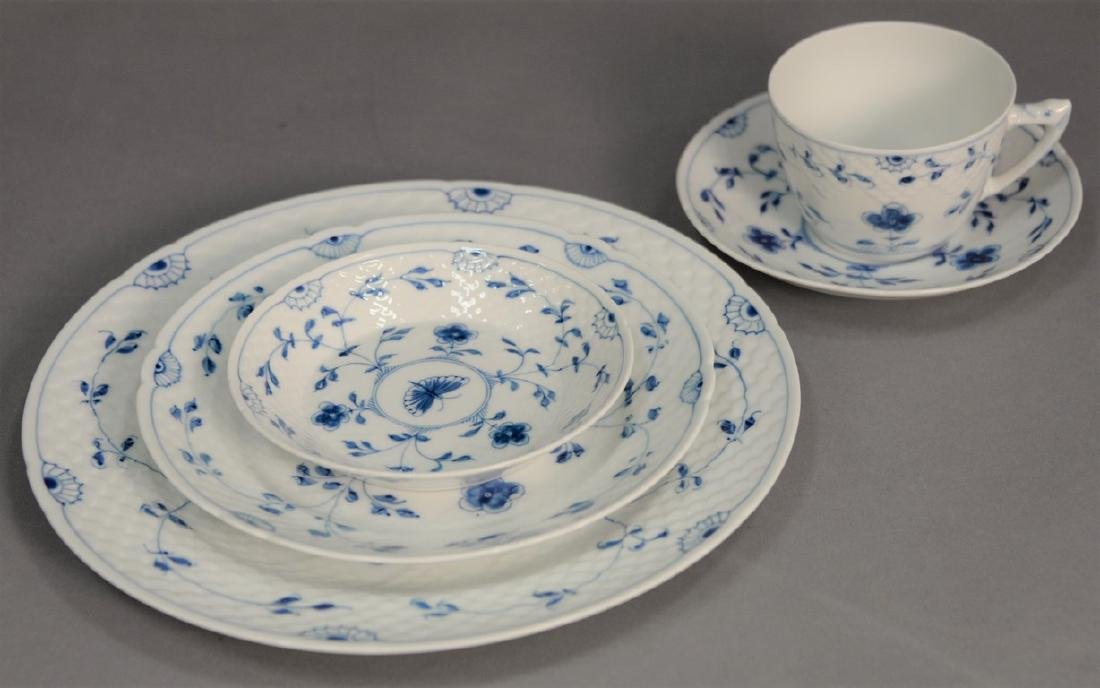 Seventy-five piece Danish porcelain blue and white
