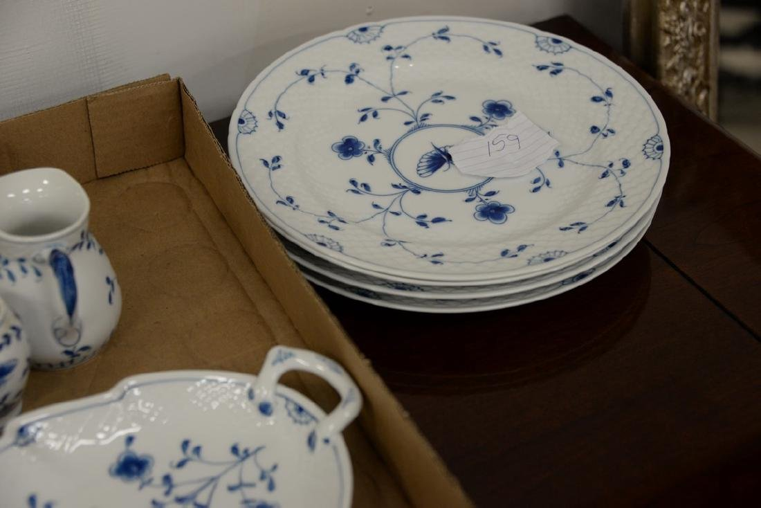 Seventy-five piece Danish porcelain blue and white - 4