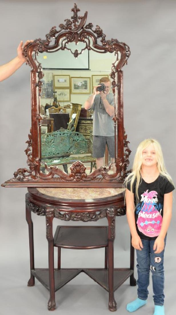 Oriental demilune table with mirror, having inset