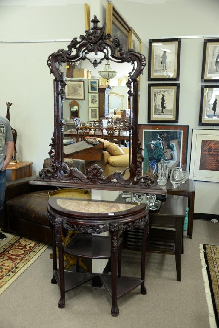 Oriental demilune table with mirror, having inset - 2