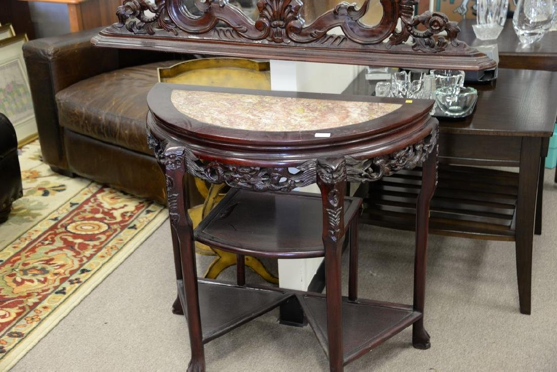 Oriental demilune table with mirror, having inset - 4