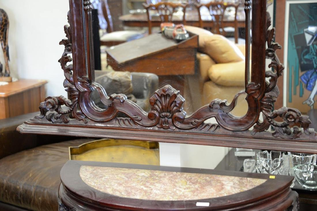 Oriental demilune table with mirror, having inset - 5