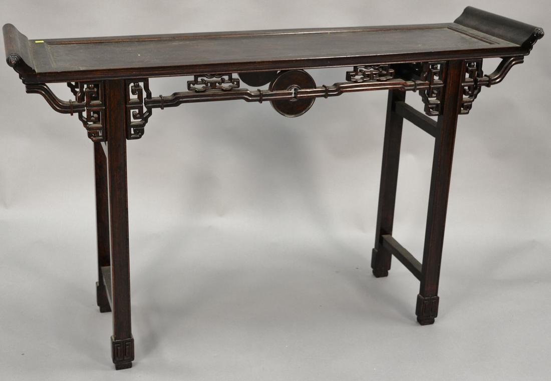 Chinese hardwood hall table with carved skirt (ht.