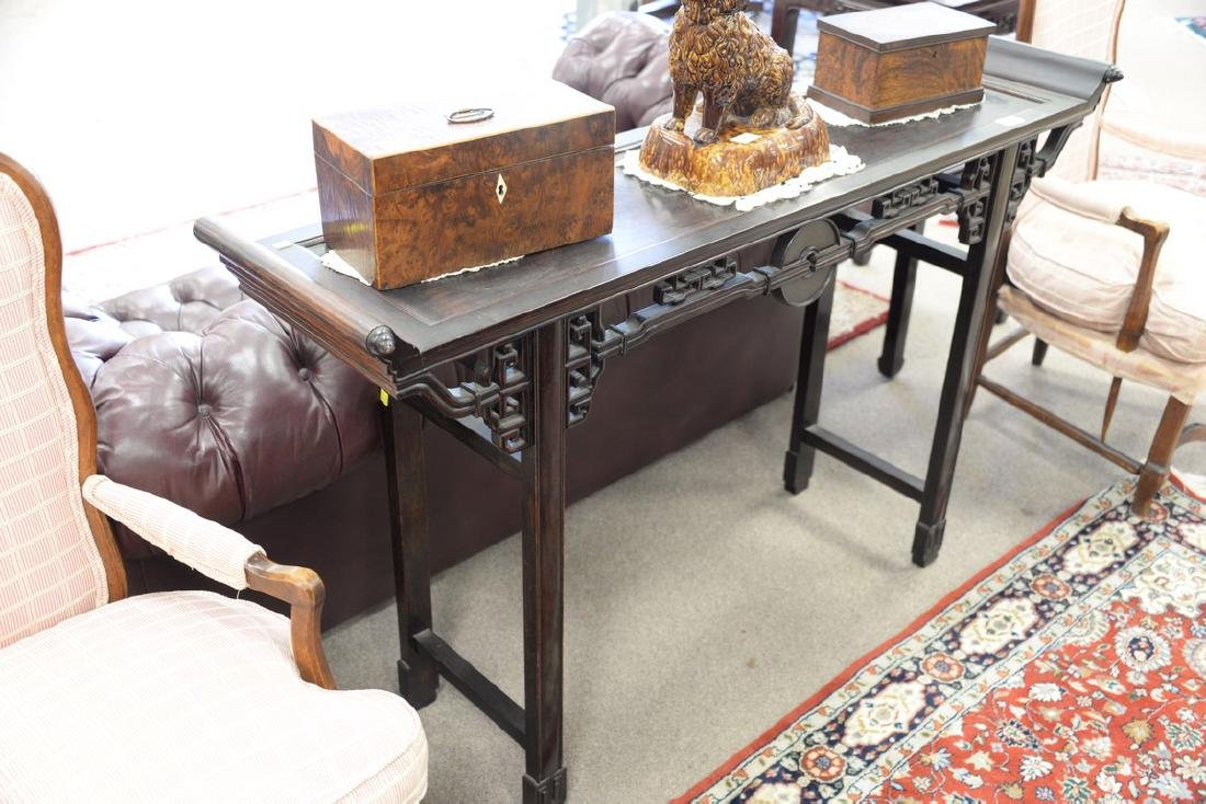 Chinese hardwood hall table with carved skirt (ht. - 2