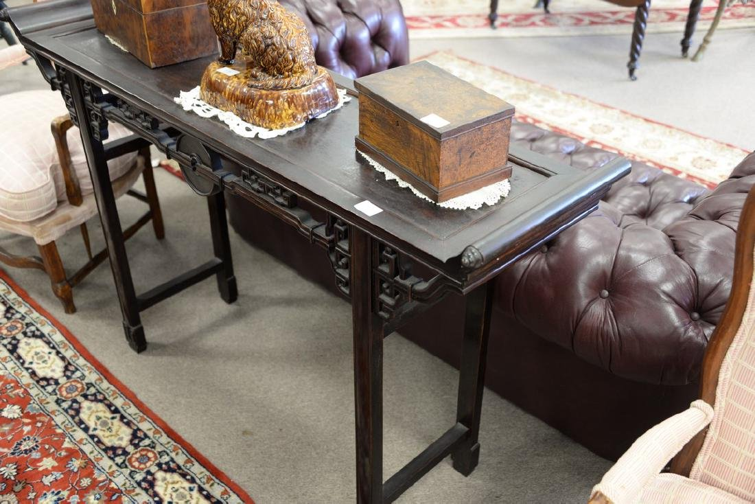 Chinese hardwood hall table with carved skirt (ht. - 3