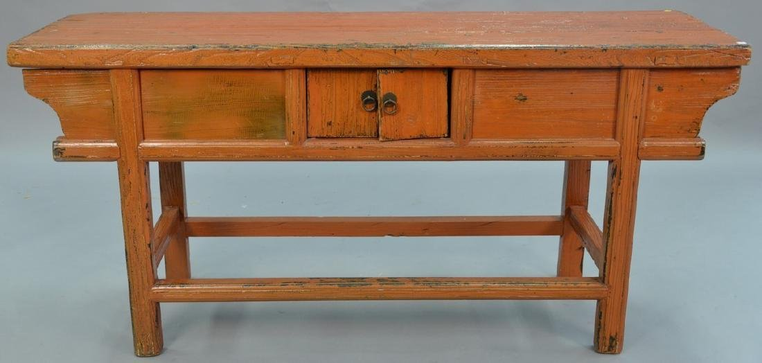 "Chinese altar table. ht. 32 1/2in., top: 19"" x 68"""