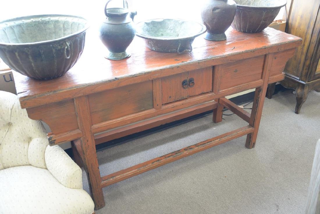 "Chinese altar table. ht. 32 1/2in., top: 19"" x 68"" - 2"