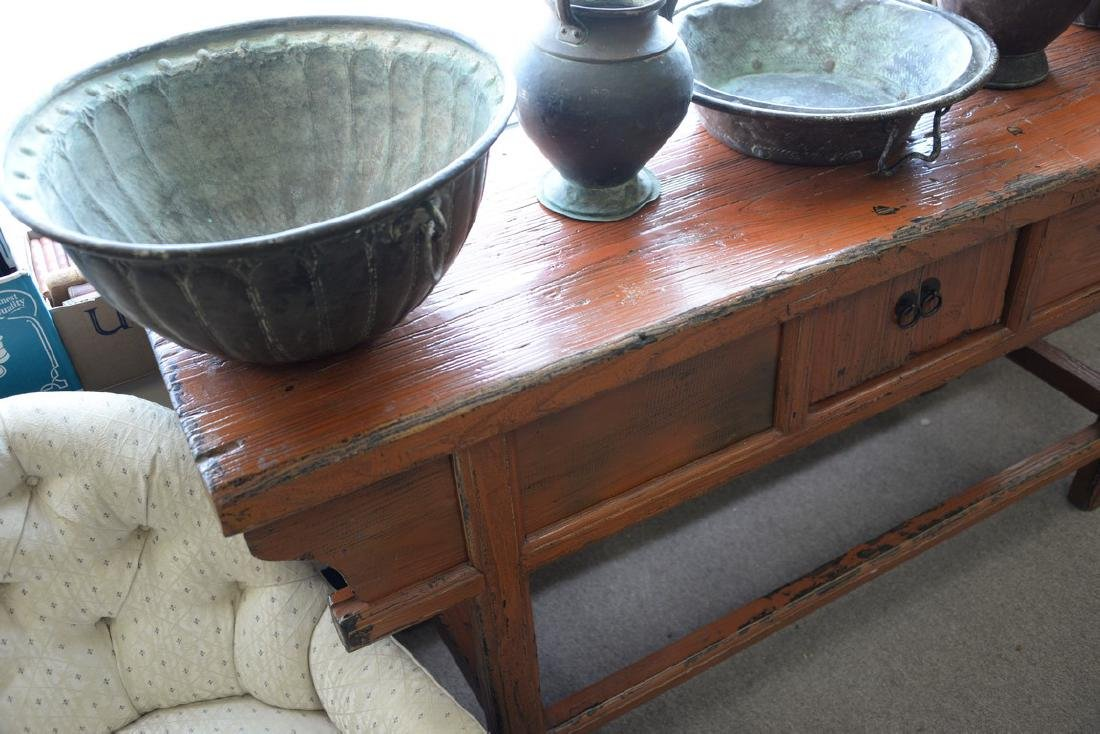 "Chinese altar table. ht. 32 1/2in., top: 19"" x 68"" - 3"