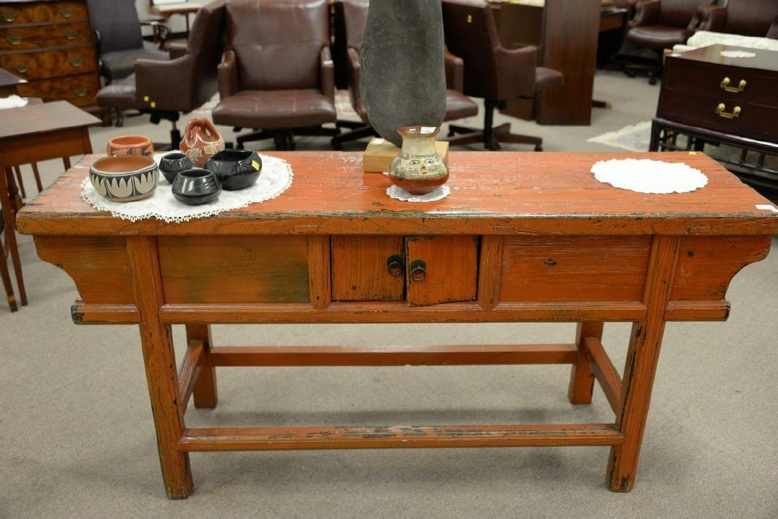 "Chinese altar table. ht. 32 1/2in., top: 19"" x 68"" - 5"