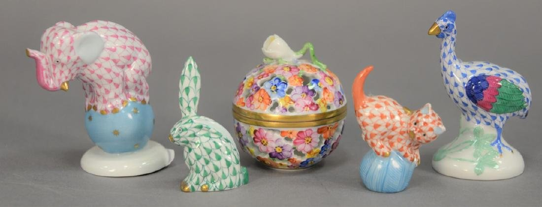 Five Herend porcelain pieces to include dancing