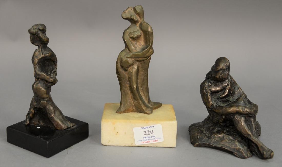 Three piece lot having two small modern bronze