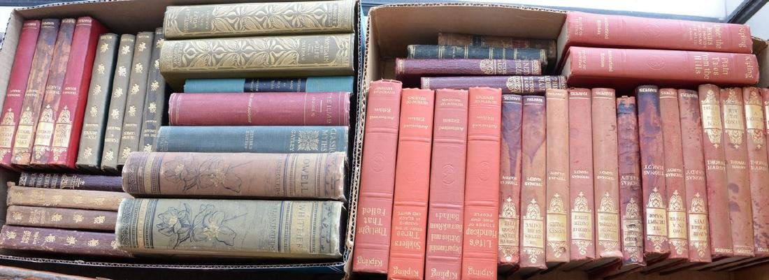 Four boxes of Victorian and leather bound books