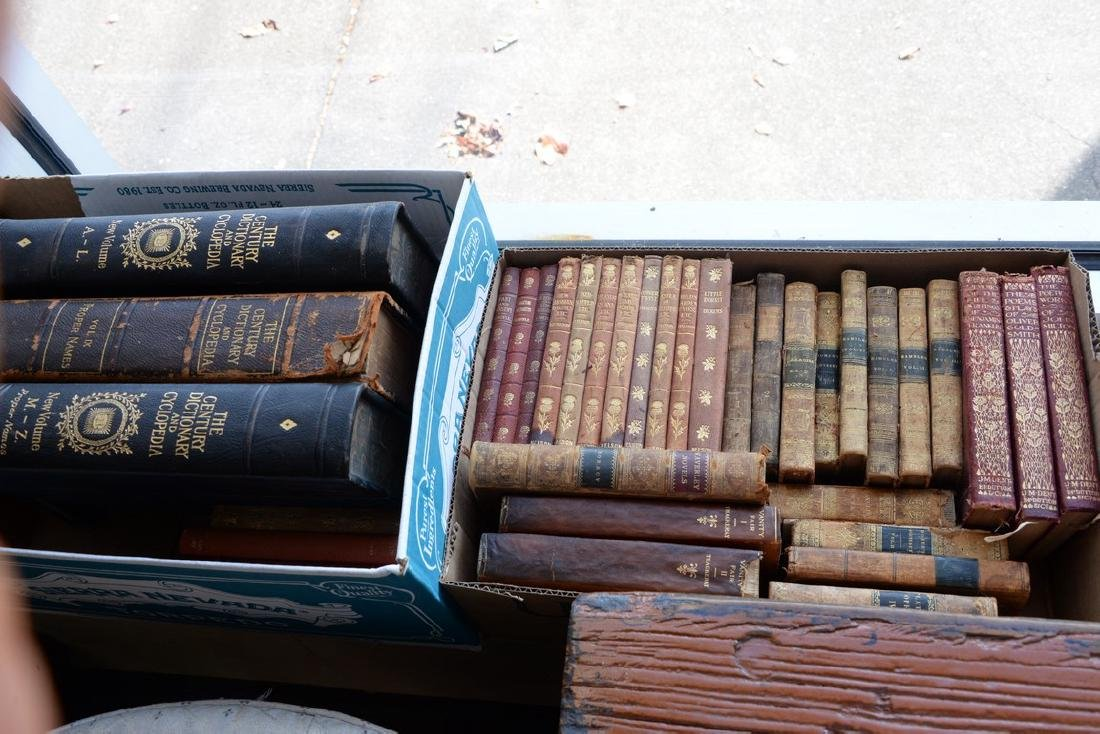 Four boxes of Victorian and leather bound books - 2