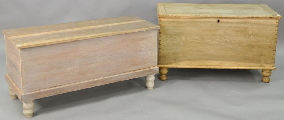 Two lift top blanket chests on turned legs. ht. 25in.,