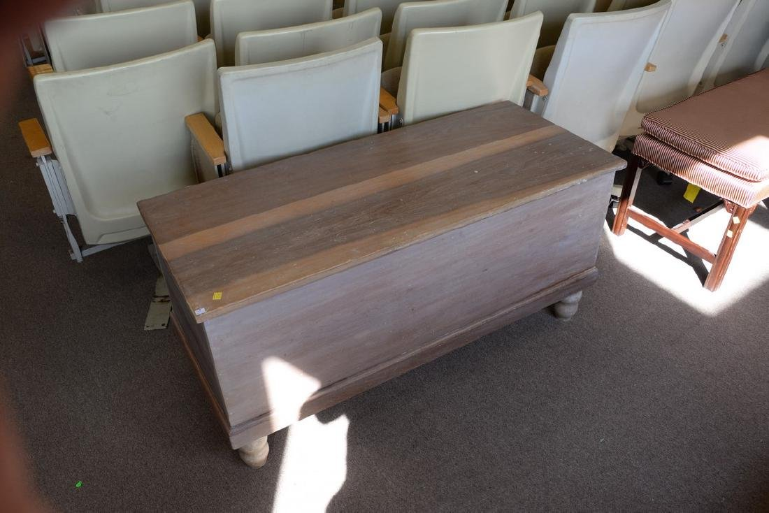 Two lift top blanket chests on turned legs. ht. 25in., - 3