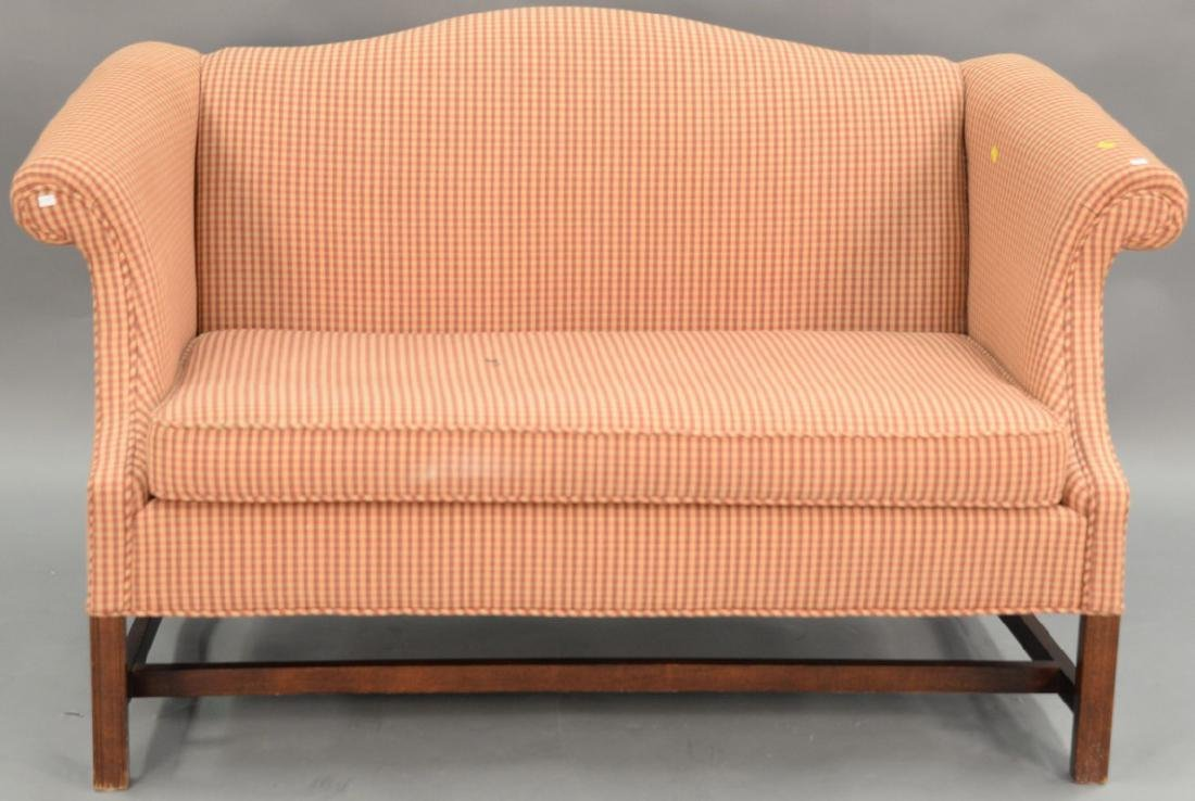 Two piece lot to include Chippendale style upholstered