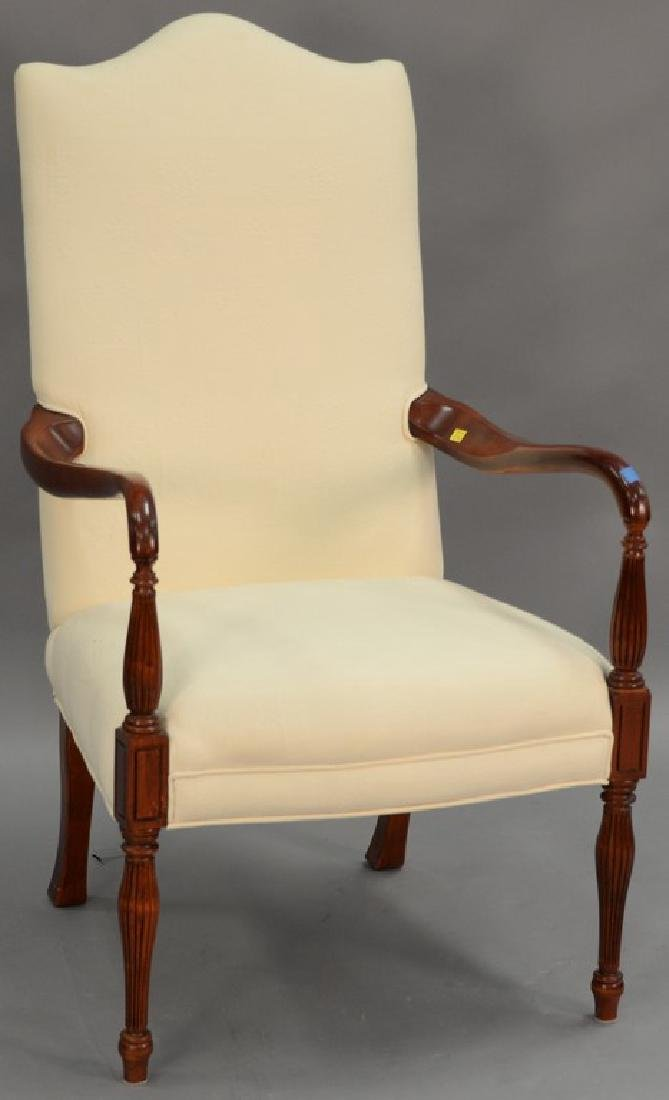 Two piece lot to include Chippendale style upholstered - 2