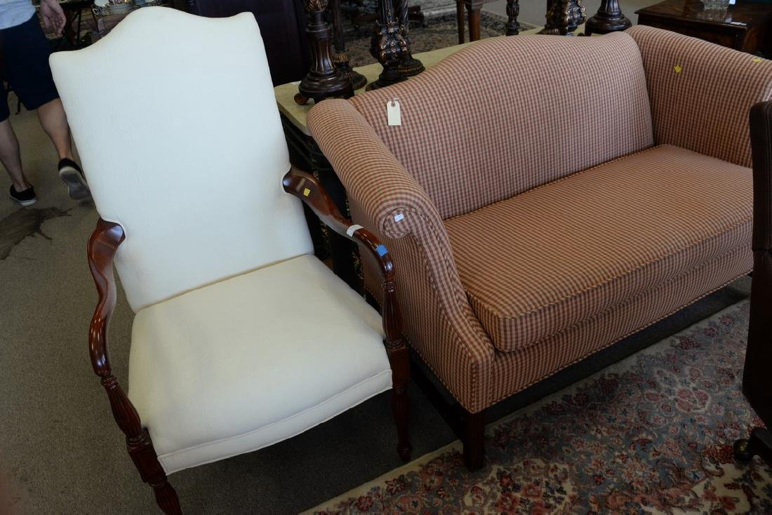 Two piece lot to include Chippendale style upholstered - 3