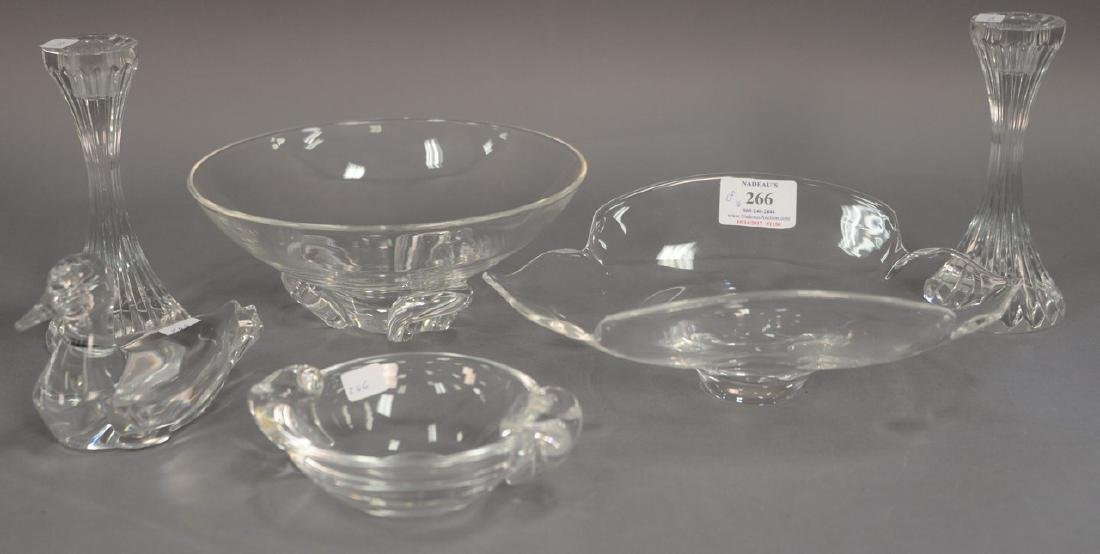 Six piece crystal lot to include Steuben Calyx 9 inch