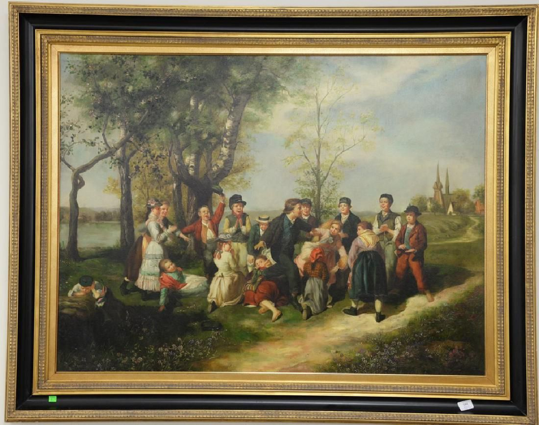 Large contemporary oil on canvas, Landscape with Kids