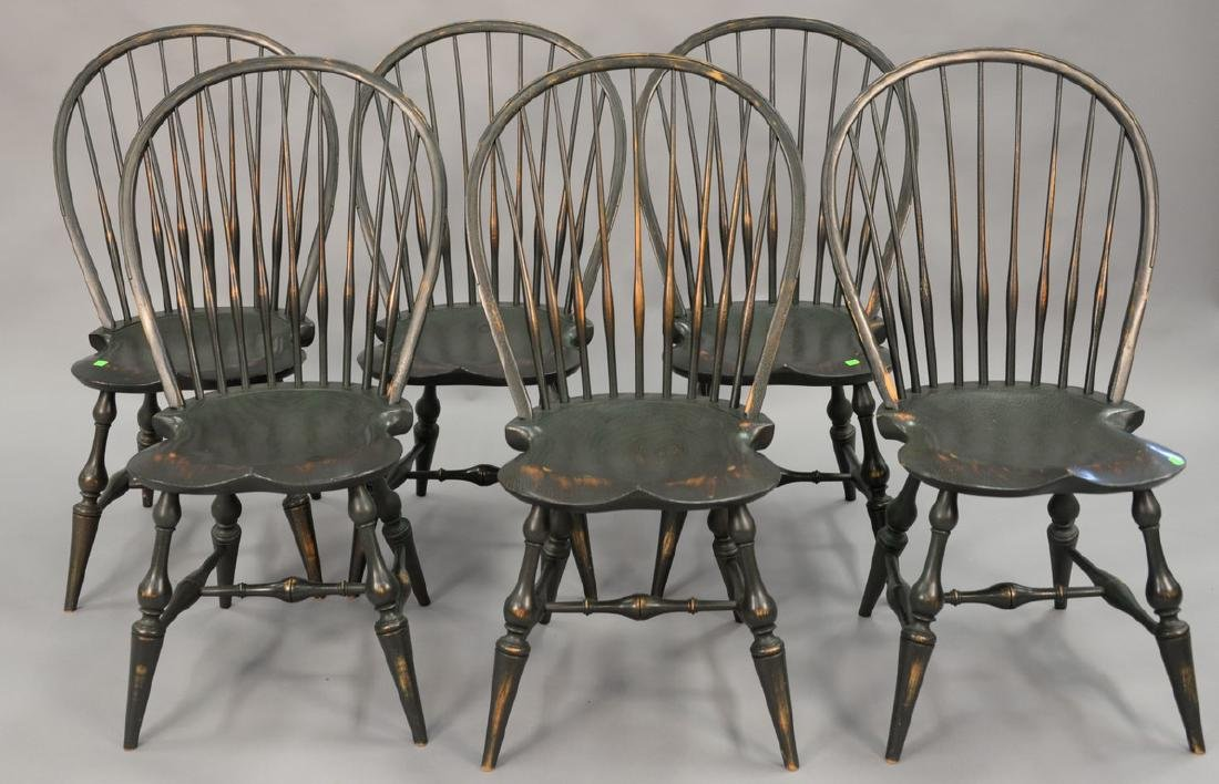 Set of six D.R. Dimes Windsor style side chairs, green