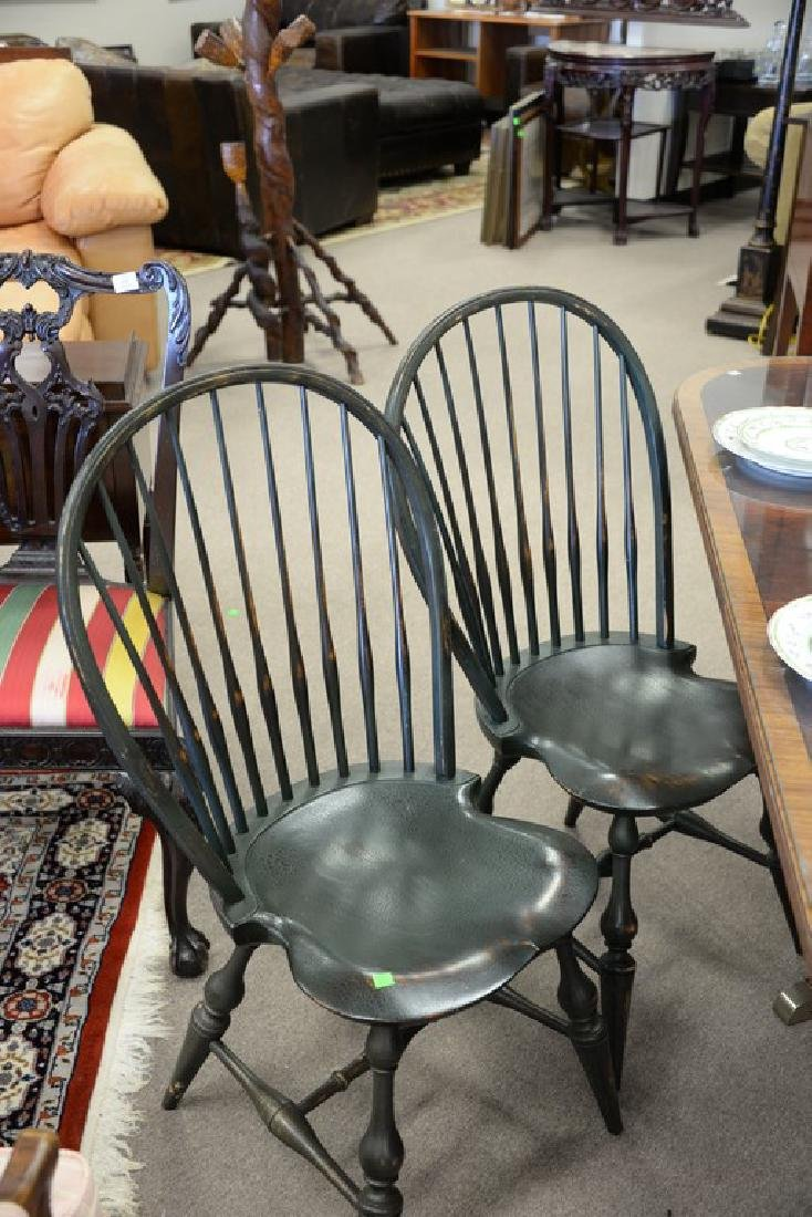 Set of six D.R. Dimes Windsor style side chairs, green - 3