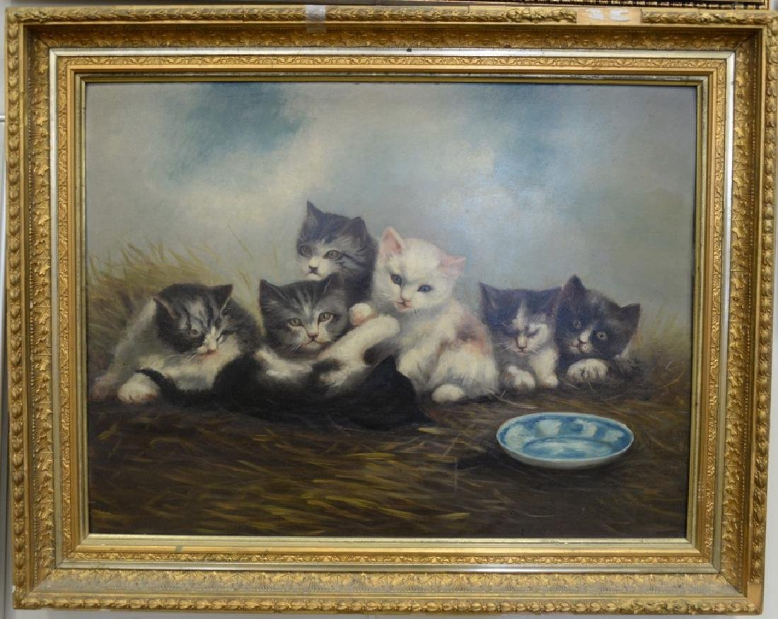 19th/20th Century oil on board with six kittens and a