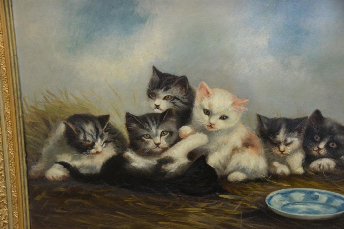 19th/20th Century oil on board with six kittens and a - 2