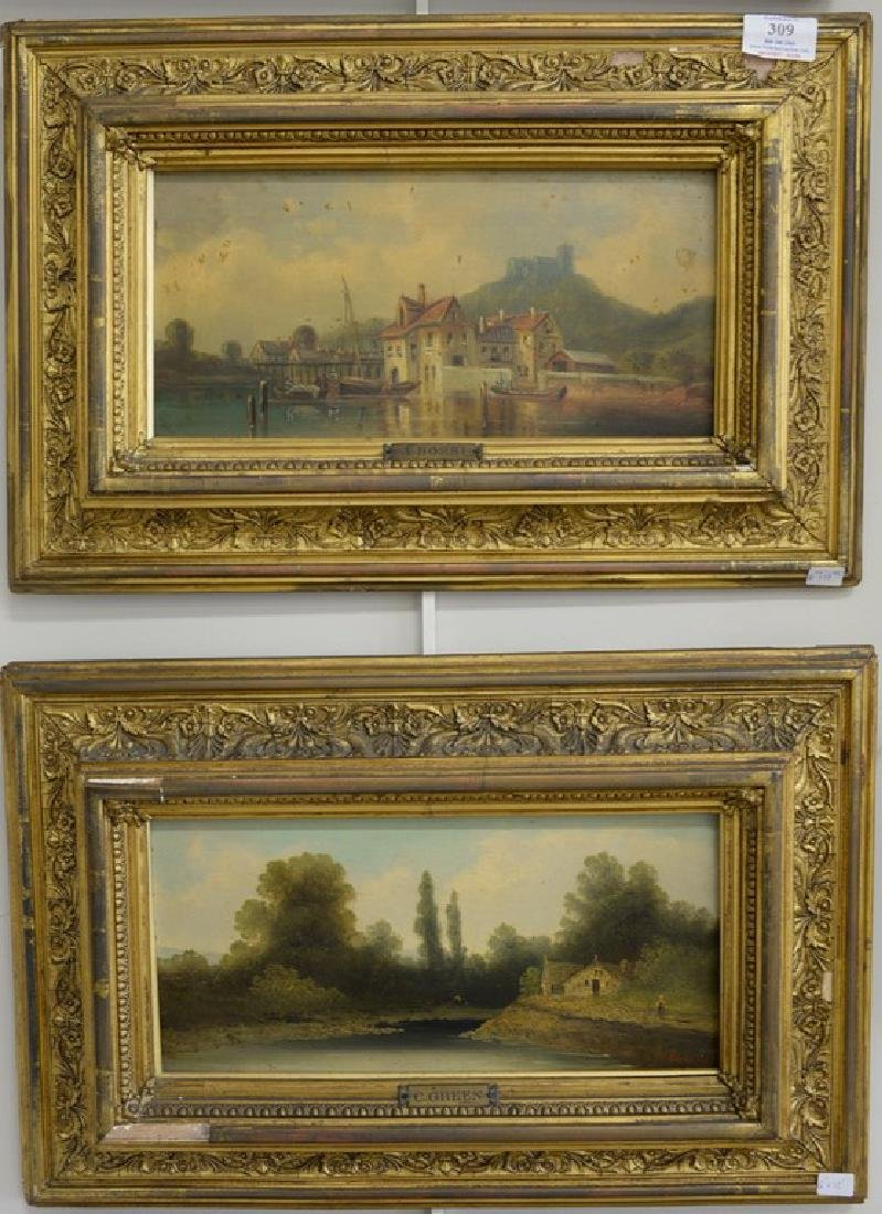 Group of three framed oil on board paintings including