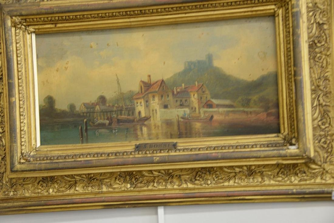 Group of three framed oil on board paintings including - 2