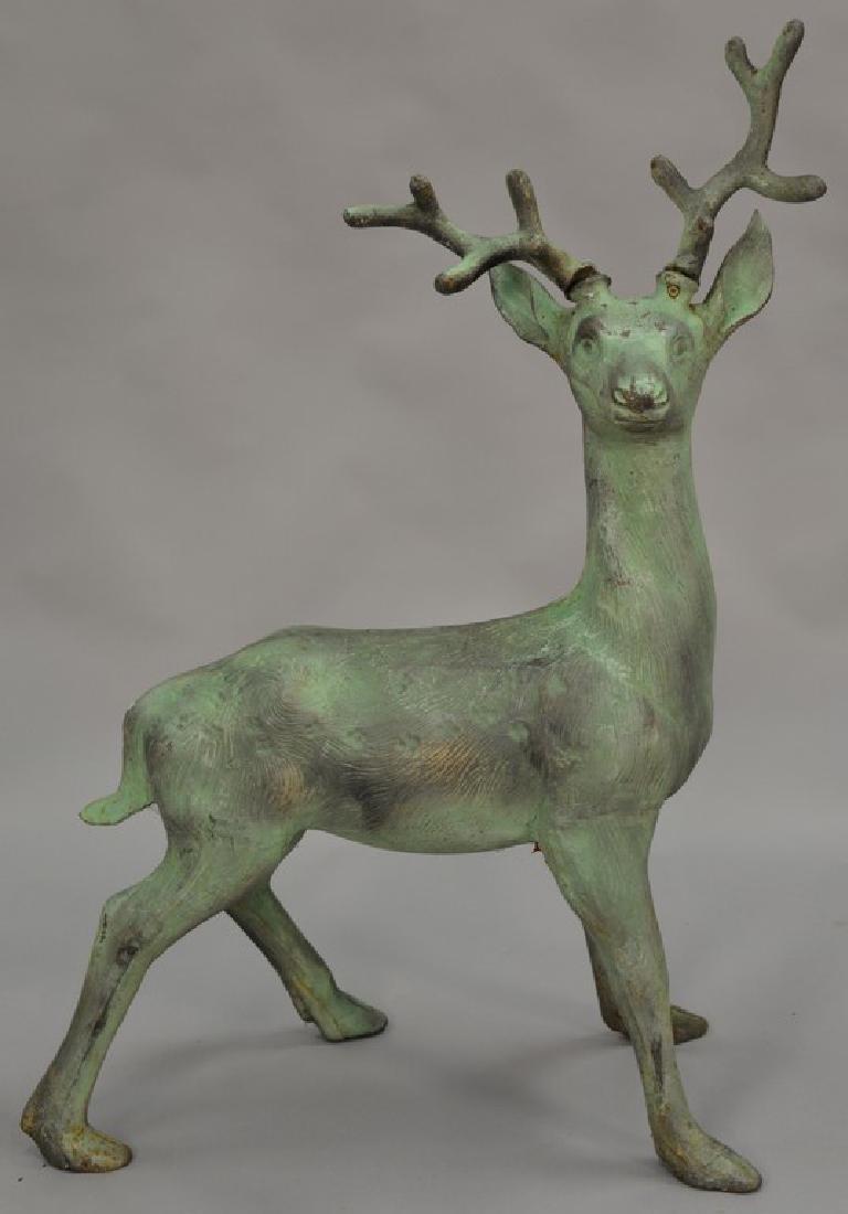 Cast iron outdoor garden deer statue, young buck. ht.